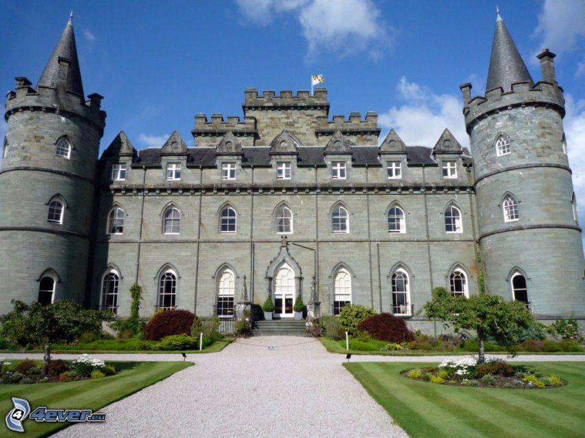 slottet Inveraray, park, trottoar
