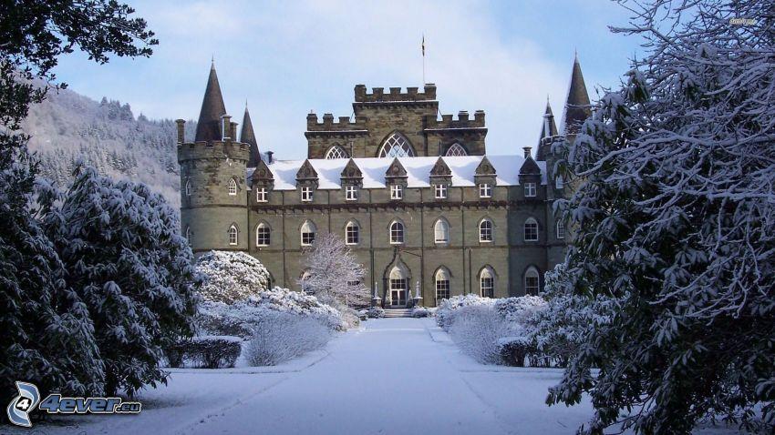 slottet Inveraray, snö