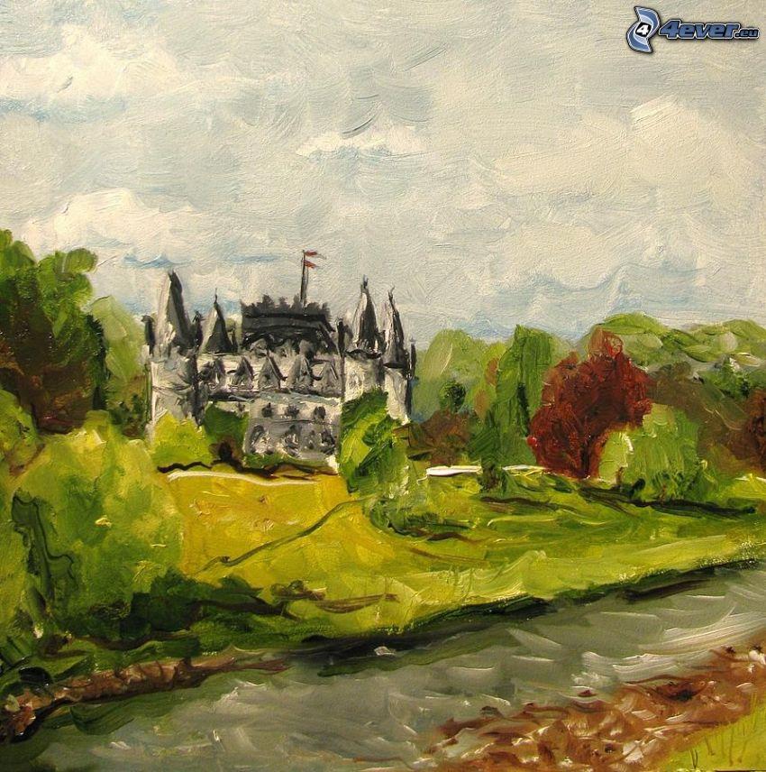 slottet Inveraray, tecknat, flod, skog