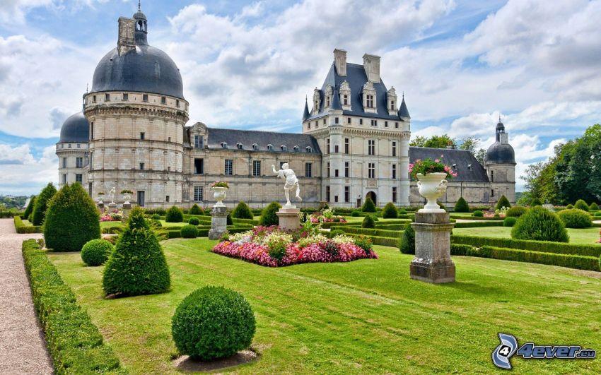 slottet Valençay, trädgård, staty, grönska