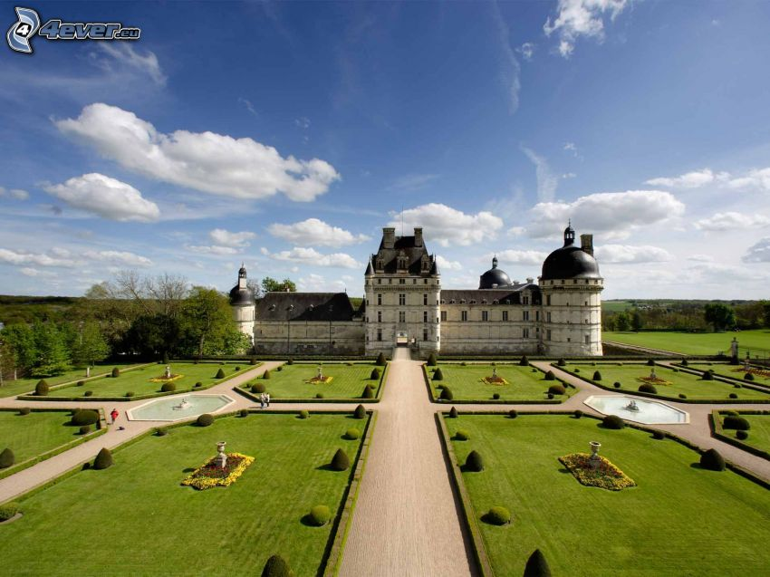 slottet Valençay, trädgård, trottoar
