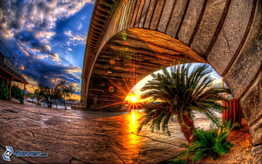 solnedgång, gammal bro, HDR