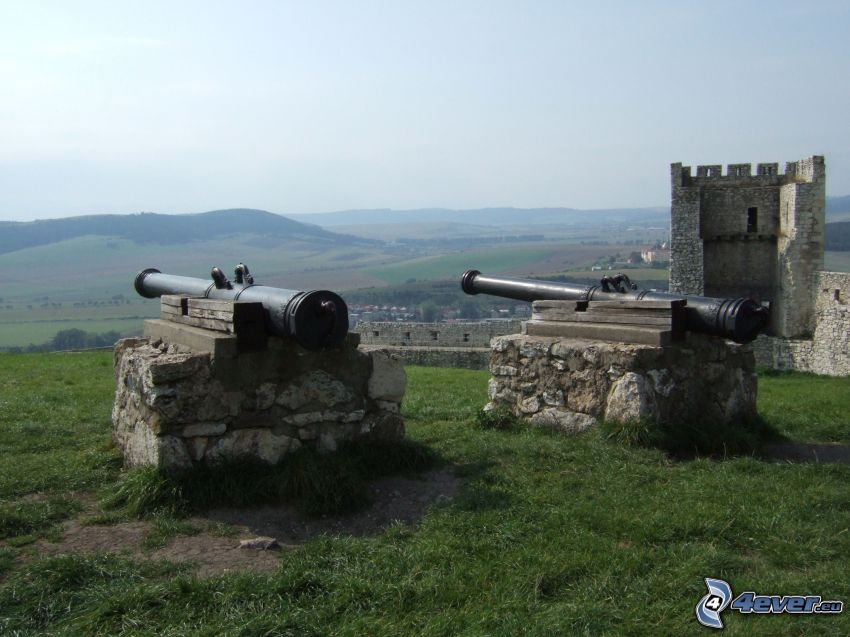 Spiš Castle, kanon, Slovakien
