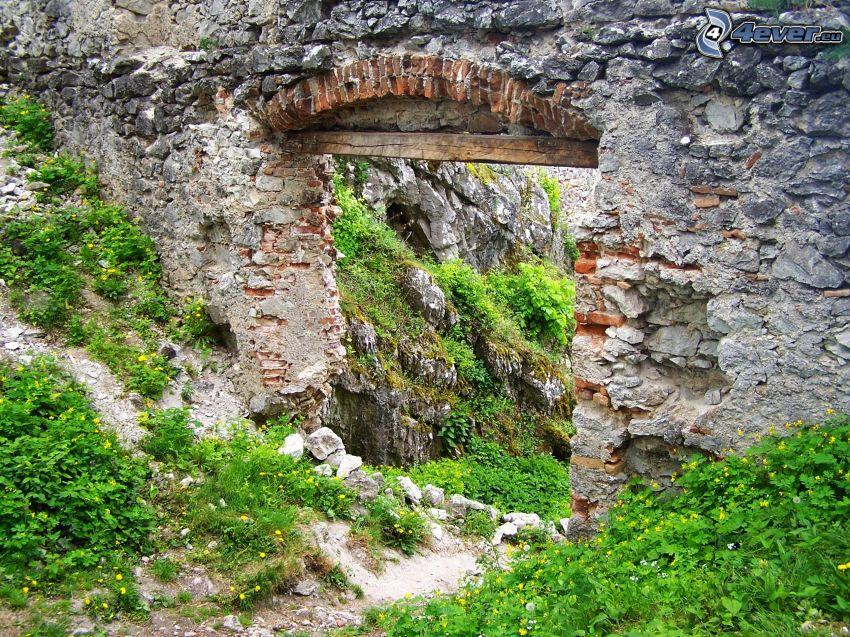 stenport, Tematín, slott, Slovakien