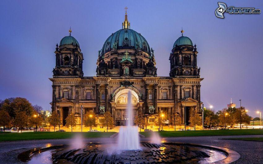 synagog, Berlin, Tyskland, fontän, belysning