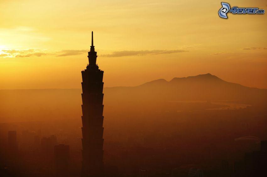 Taipei 101, Taiwan, skyskrapa, soluppgång