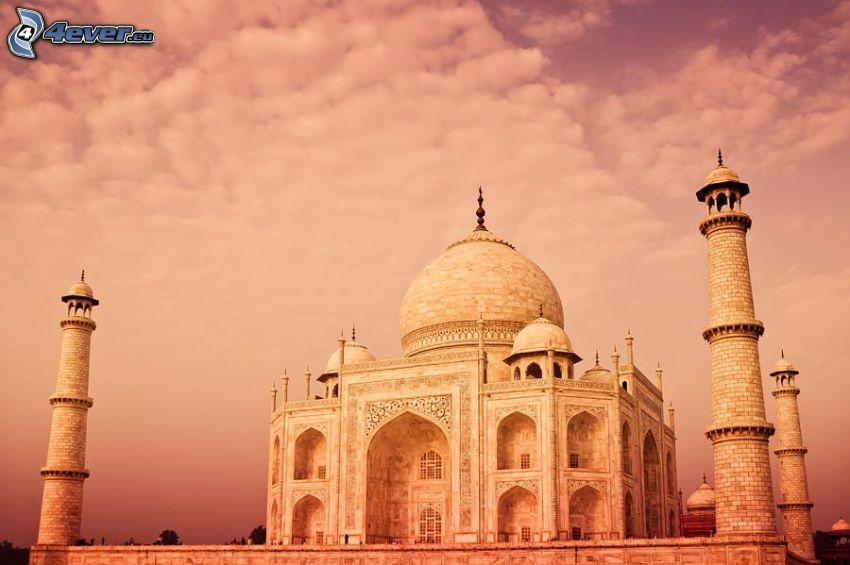 Taj Mahal, moln, lila himmel
