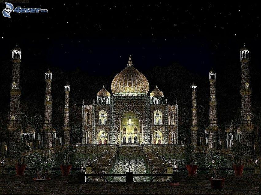 Taj Mahal, natt, fontän, kolumner