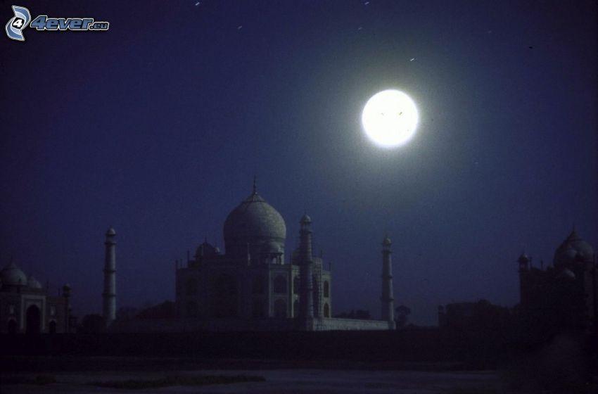 Taj Mahal, natt, måne