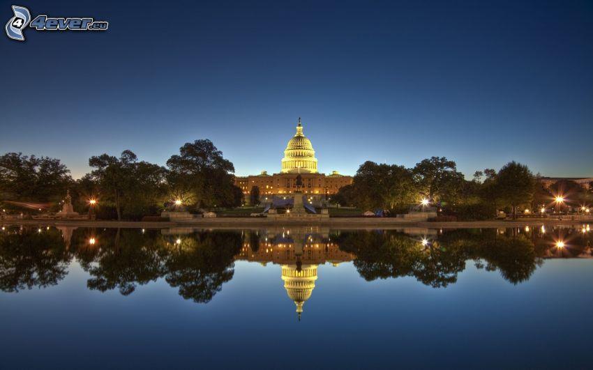 The Capitol, Washington DC, USA, kväll, vatten, spegling, HDR
