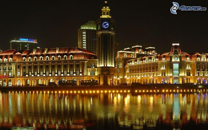 Tianjin, Kina, natt, belysning, flod