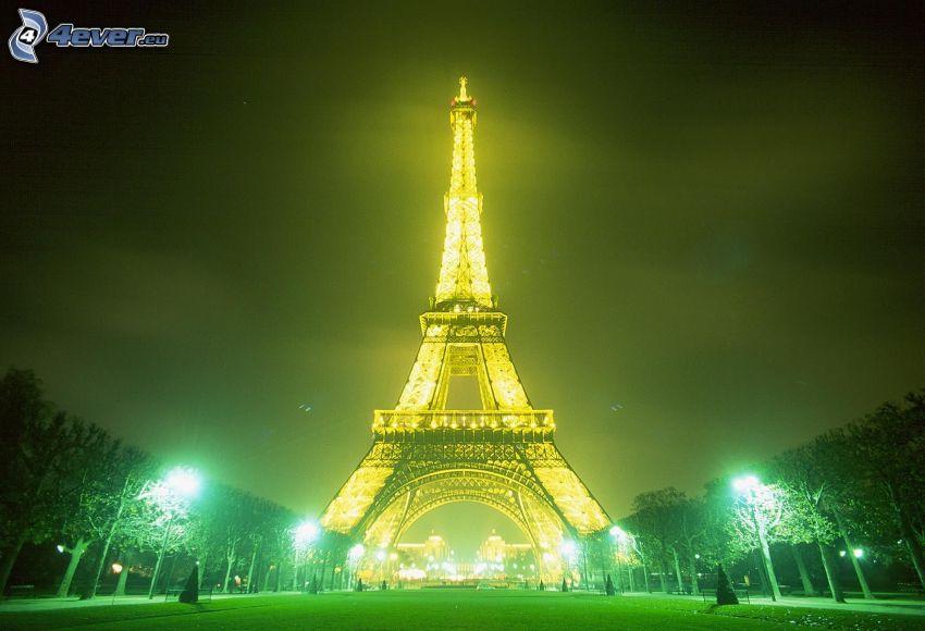 upplysta Eiffeltornet, ljus, natt