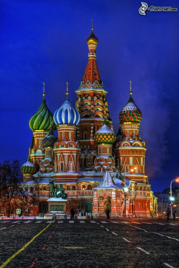 Vasilijkatedralen, kväll, HDR