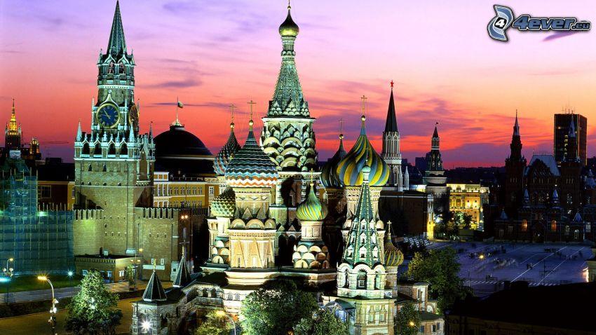 Vasilijkatedralen, kvällsstad, Kremlin, belysning