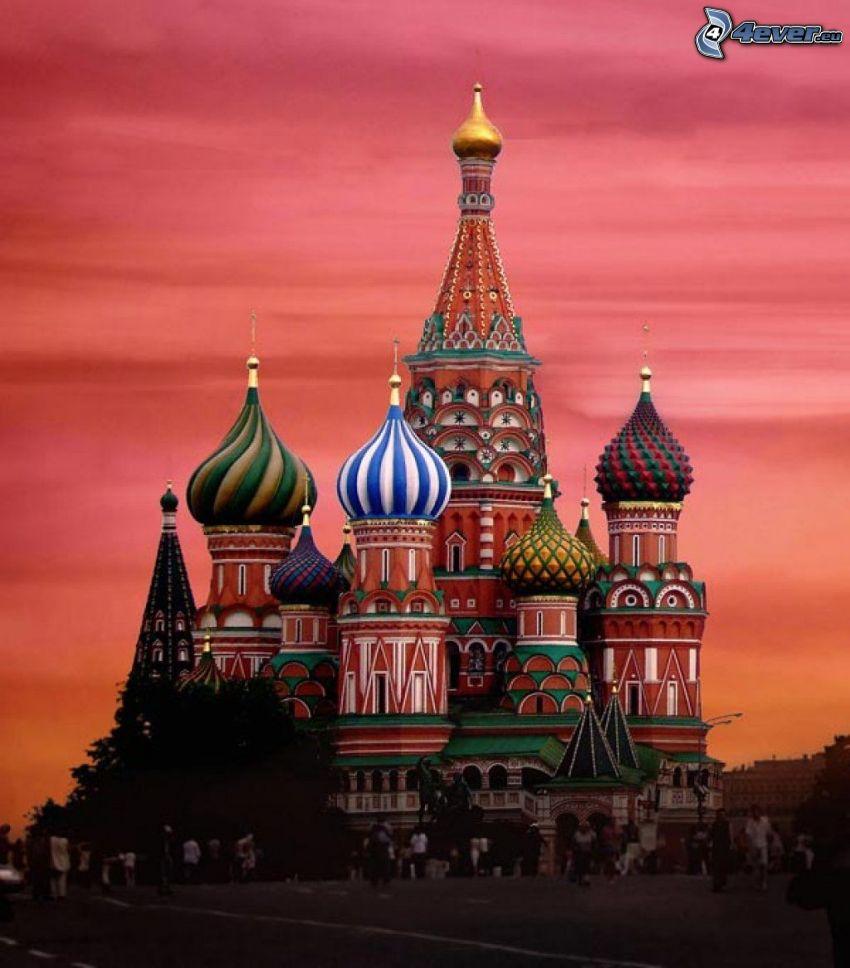 Vasilijkatedralen, lila himmel