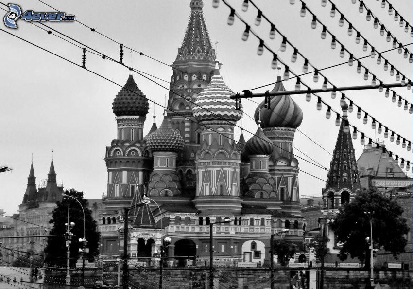 Vasilijkatedralen, Moskva, Ryssland, svart och vitt