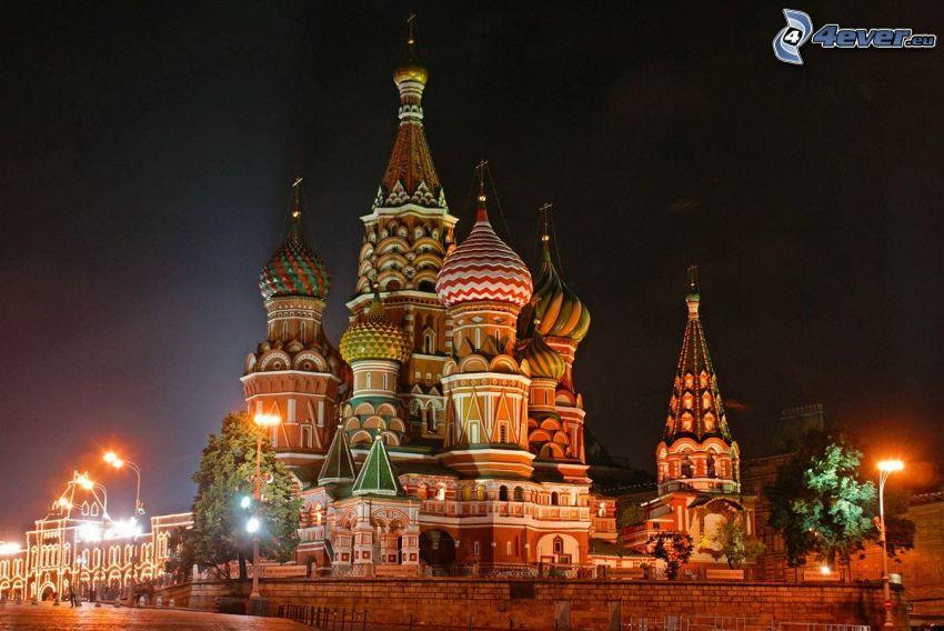 Vasilijkatedralen, natt