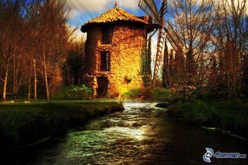 vattenkvarn, flod, bäck