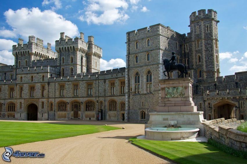 Windsor Castle, trädgård, staty, trottoar