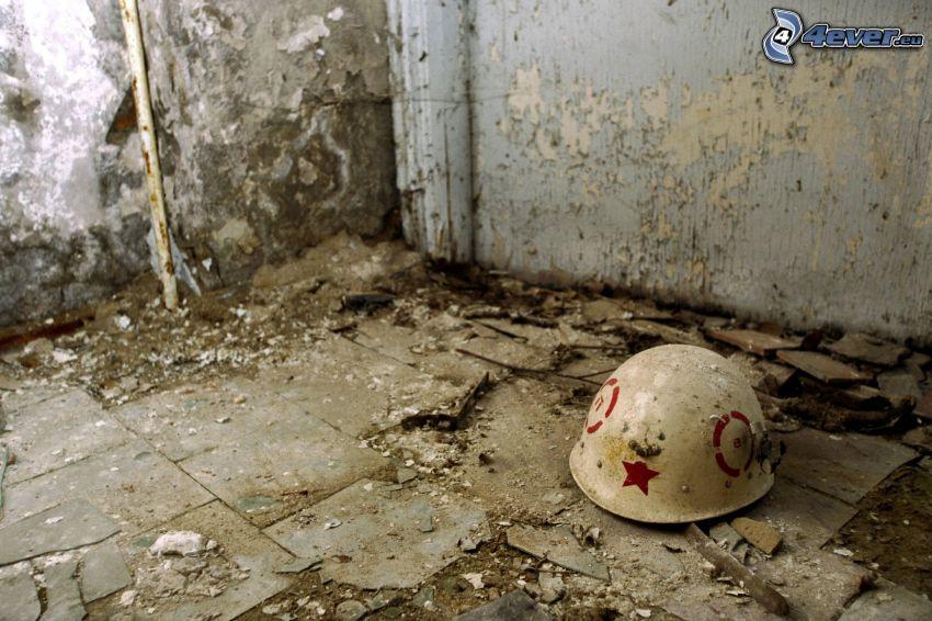 hjälm, gammal byggnad, Tjernobyl
