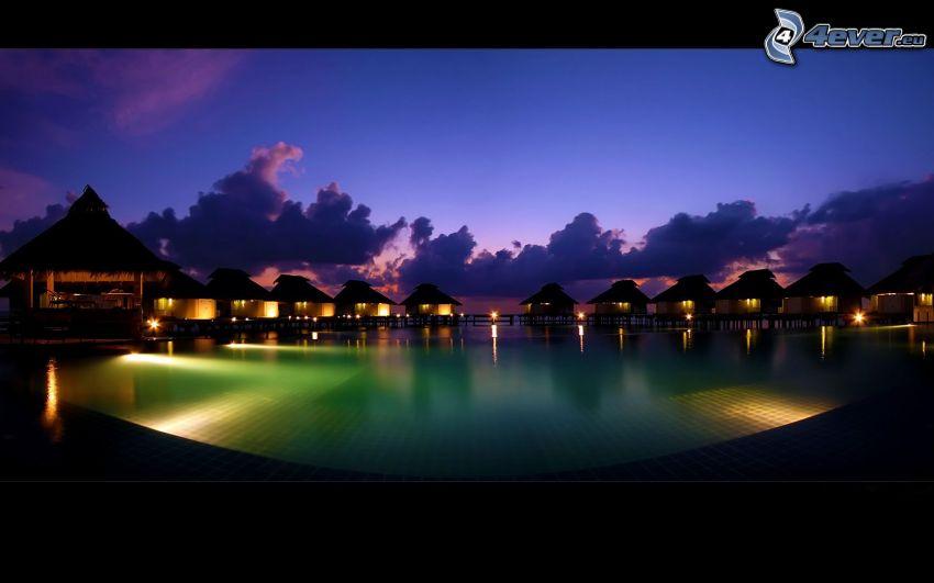 hus, Maldiverna, kväll, belysning