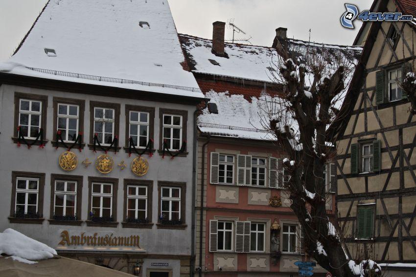 hus, snö