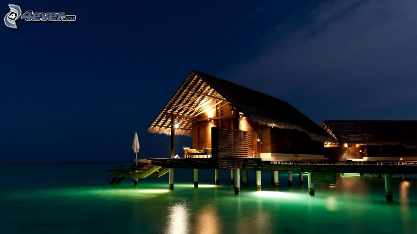 hus på vatten, hav, belysning