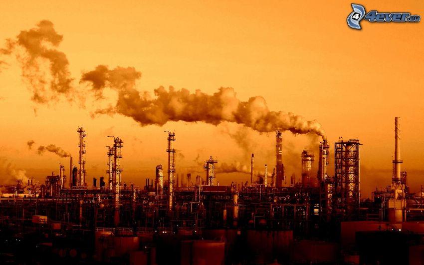 industri, fabrik, skorstenar