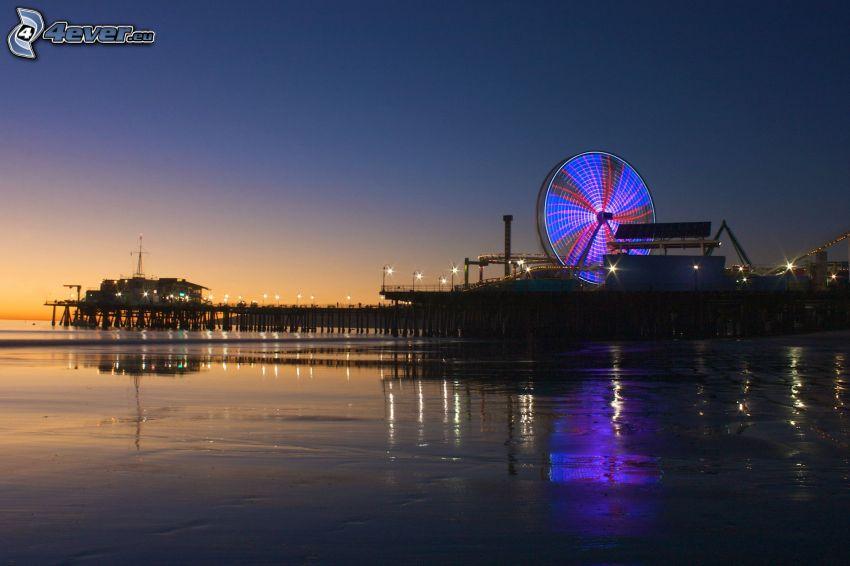 karusell, flod, kväll, efter solnedgången