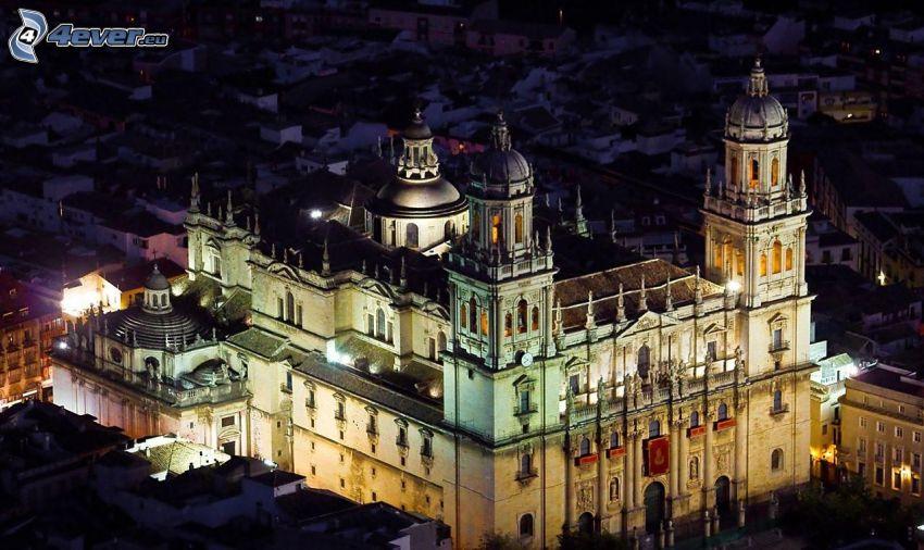 katedral, belysning, natt
