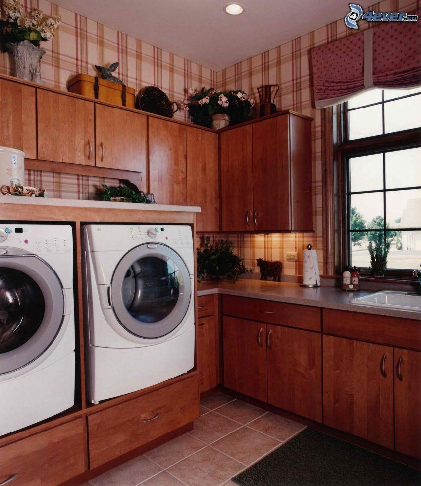 kök, tvättmaskiner, interiör