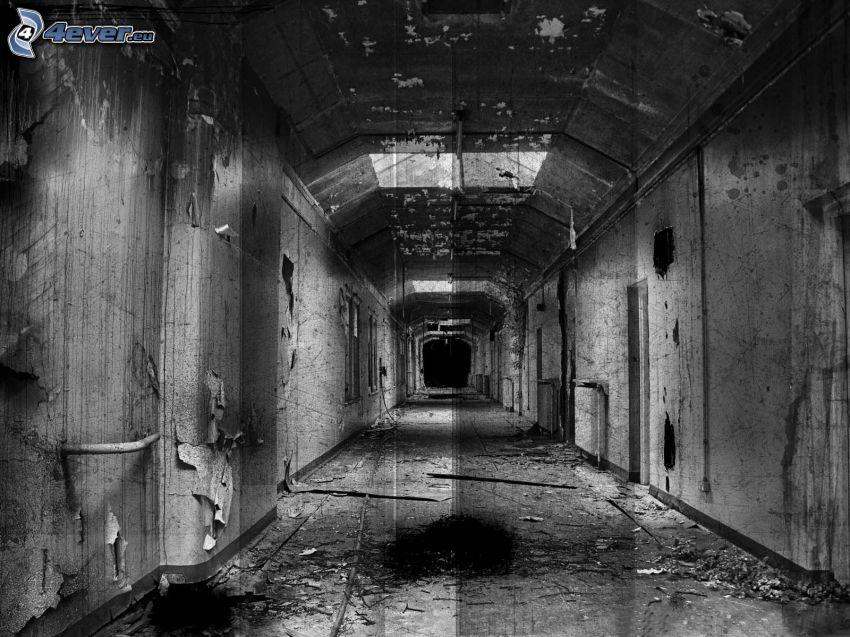 korridor, gammal byggnad, svartvitt foto