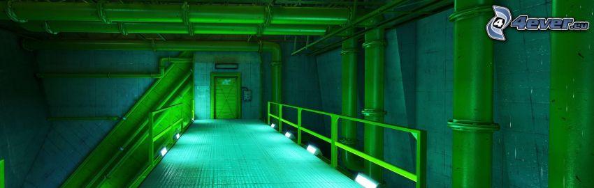 korridor, grön, underjord