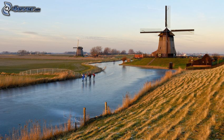 kvarn, Nederländerna, frusen flod