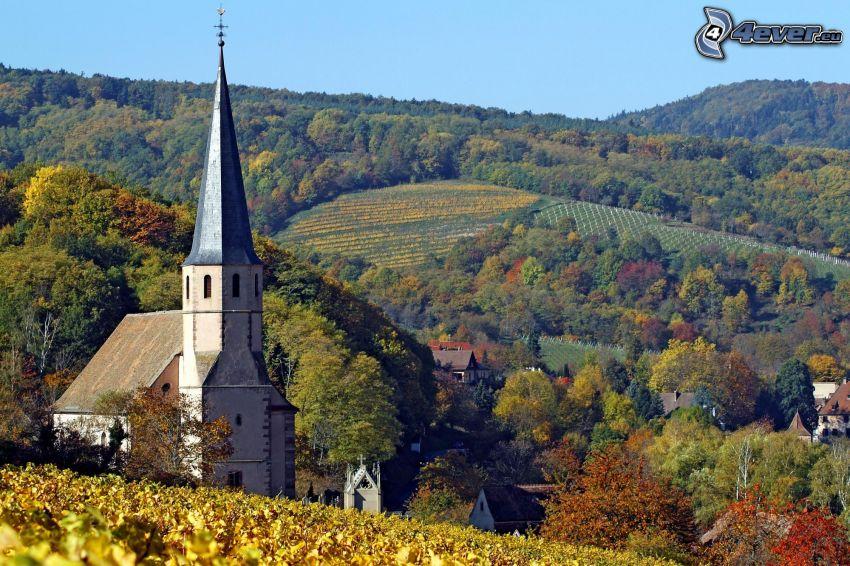 kyrka, by, bergskedja