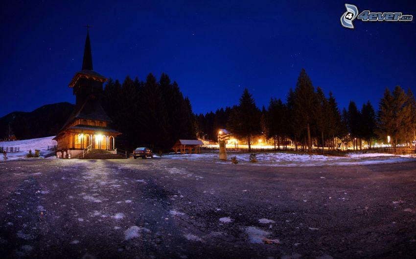 kyrka, natt, belysning