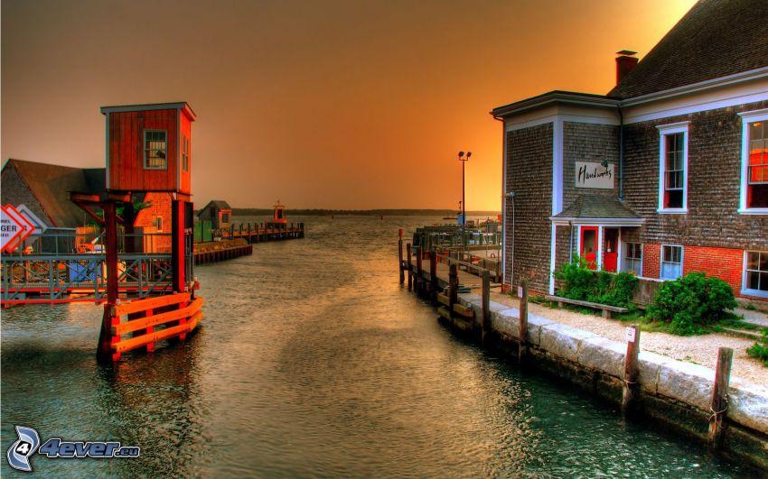 lyxigt hus, hav, HDR