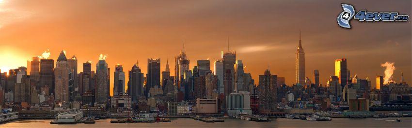 Manhattan, New York, skyskrapor, solnedgång över stad, panorama, Empire State Building