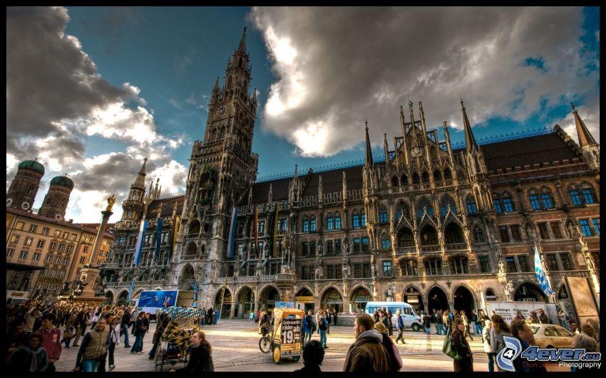 Marienplatz, Munich, historiskt torg, historisk byggnad
