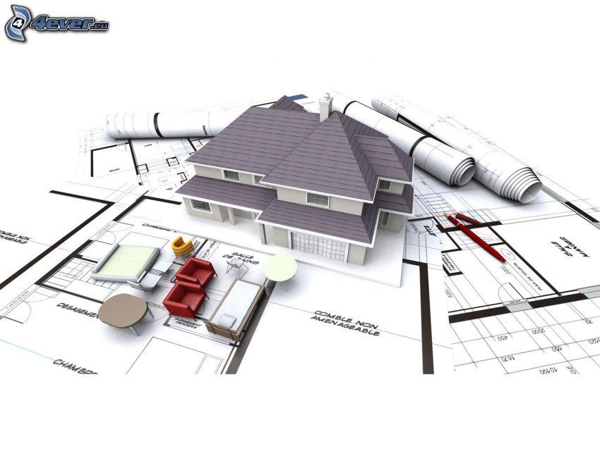modernt hus, miniatyr, papper, möbler