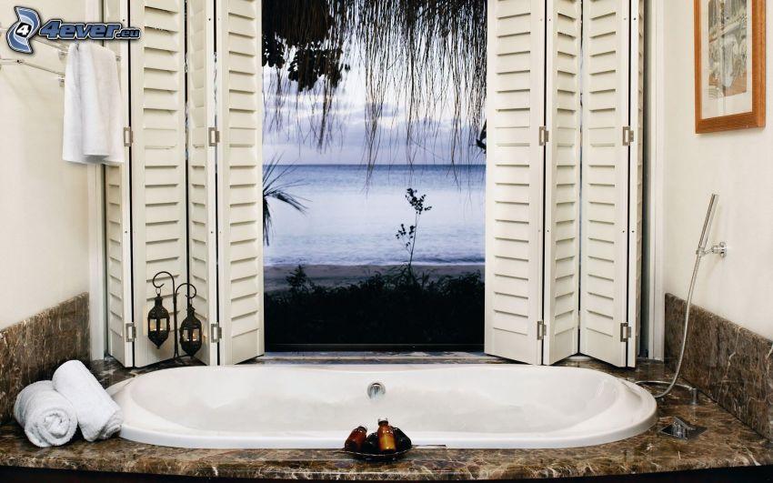 badkar, utsikt, hav