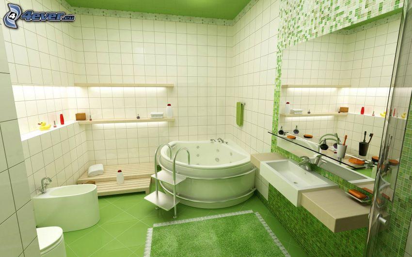 badrum, badkar, grön