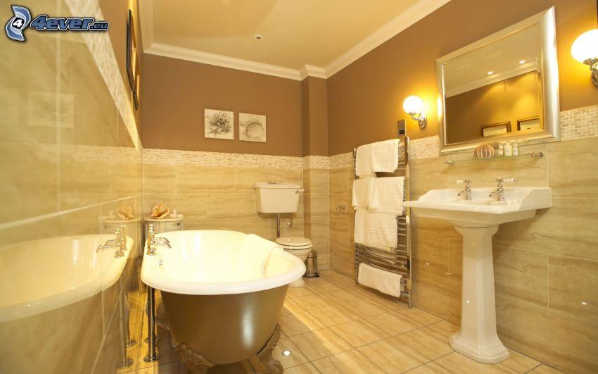 badrum, badkar, handfat, spegel