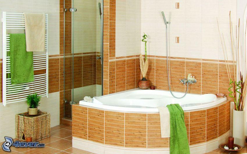 badrum, badkar, hörndusch, handdukar