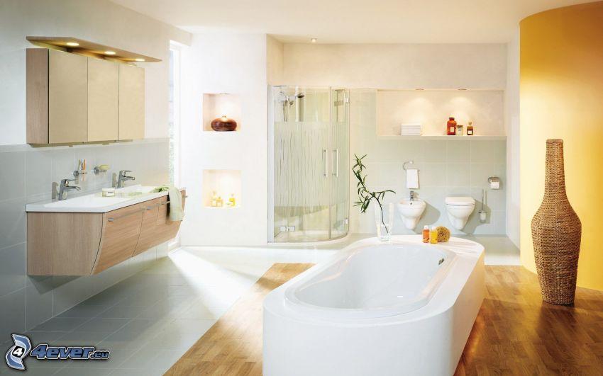 badrum, badkar, hörndusch, skåp