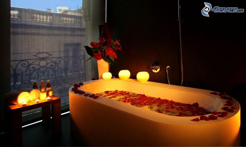 badrum, badkar, rosenblad, ljus