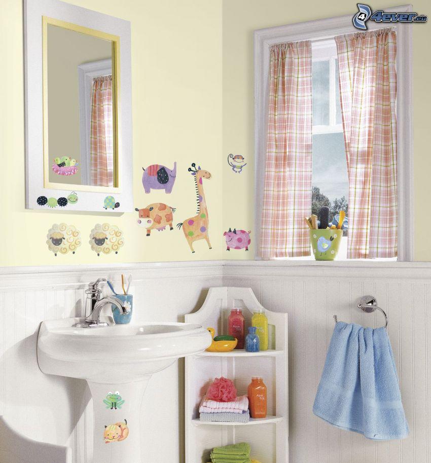 badrum, handfat, handduk, djur, fönster