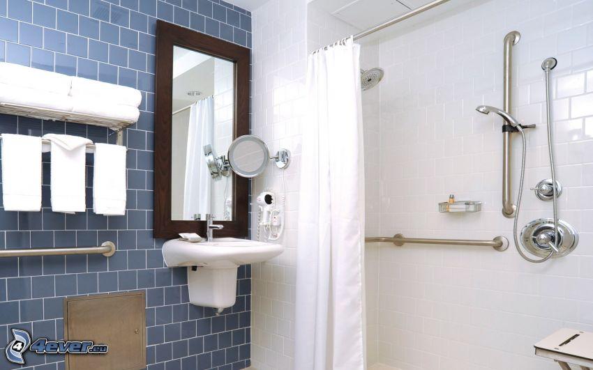 badrum, handfat, spegel, dusch