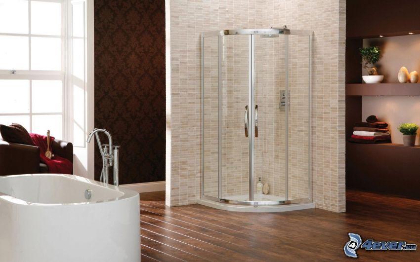 badrum, hörndusch, badkar