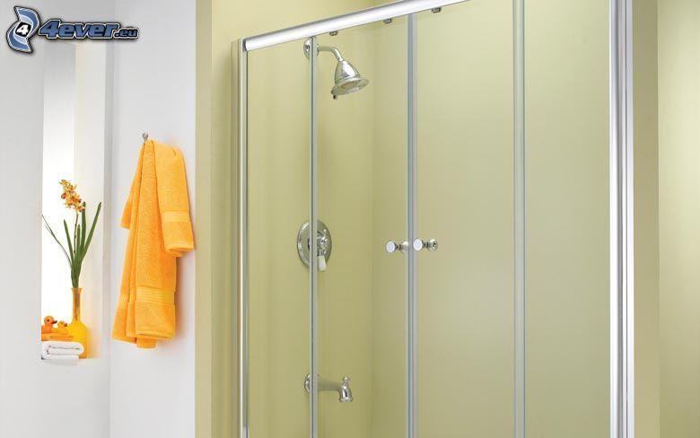 badrum, hörndusch, handdukar
